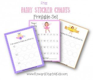 printable fairy sticker charts