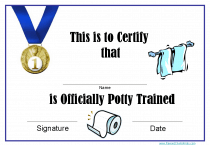 Potty trained certificates