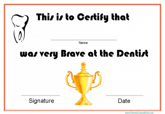 bravery certificate template - printable certificates for dentists