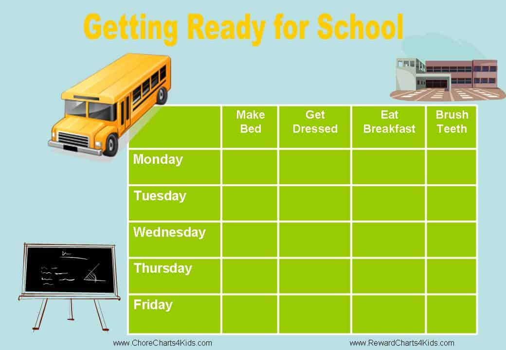 Getting Ready for School Motivation Chart