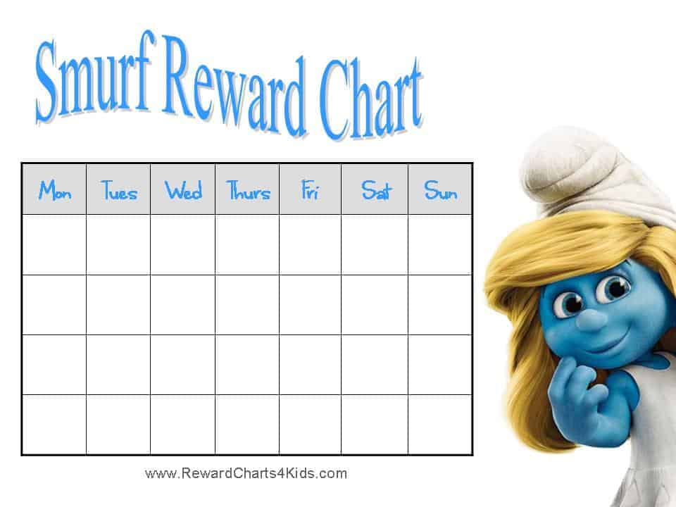Free Smurfs Reward Chart For Kids Pictures to pin on Pinterest