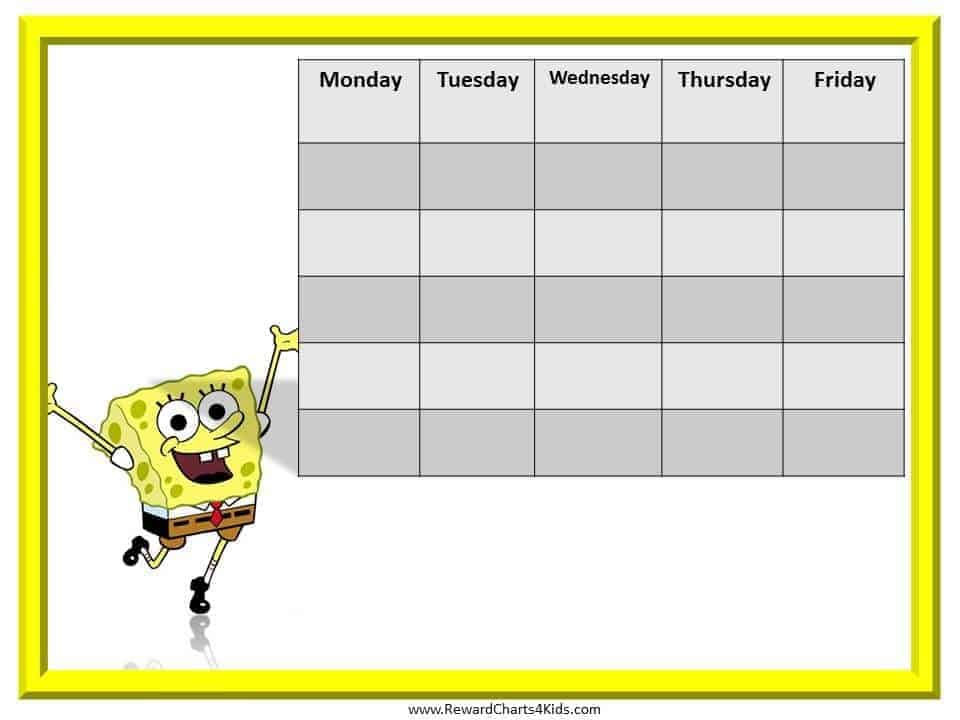 SpongeBob Reward Chart – Kids Behavior Chart Template