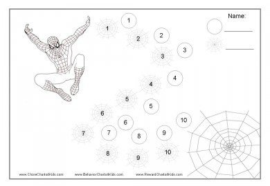 Spiderman reward chart