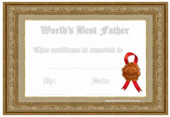 Fathers day certificate