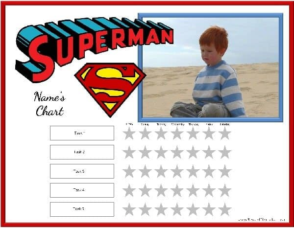 Weekly behavior chart for boys