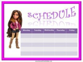 Class schedule for girls
