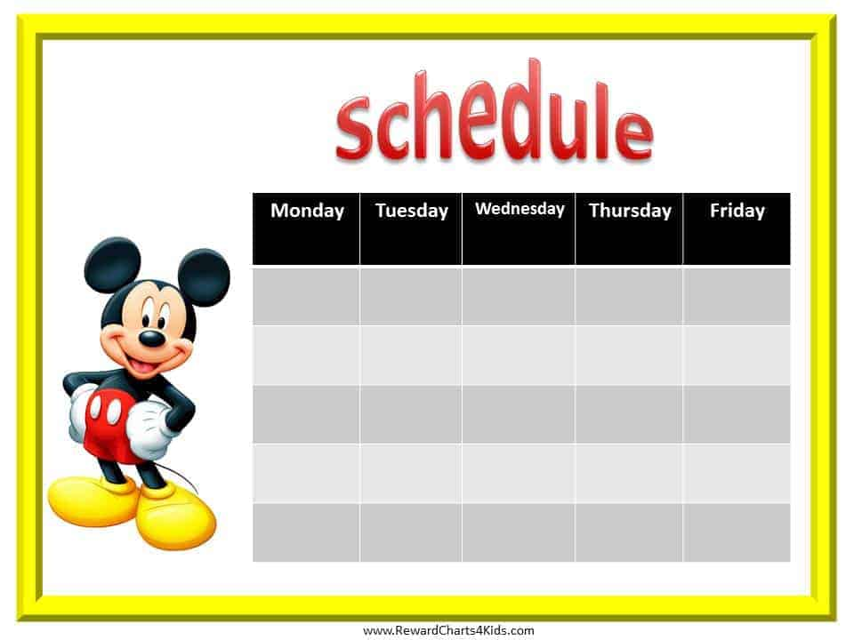Mickey Mouse Reward Chart Car Interior Design