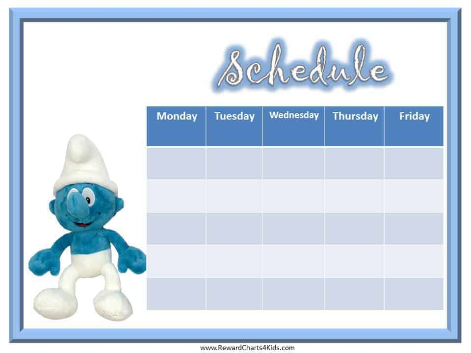 free smurfs reward chart for kids