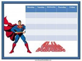 Free printable Superman class schedule