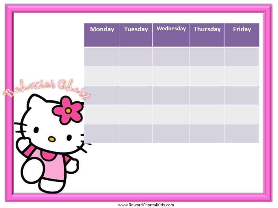 Hello Kitty Behavior Chart – Kids Behavior Chart Template