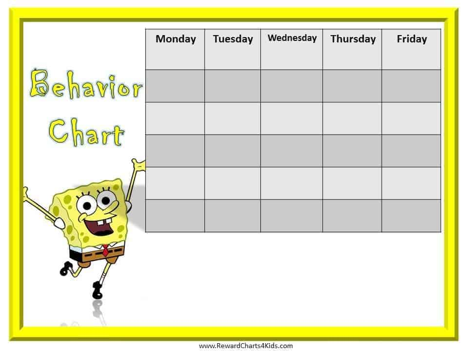 Printable Behavior Charts Spongebob behavior charts