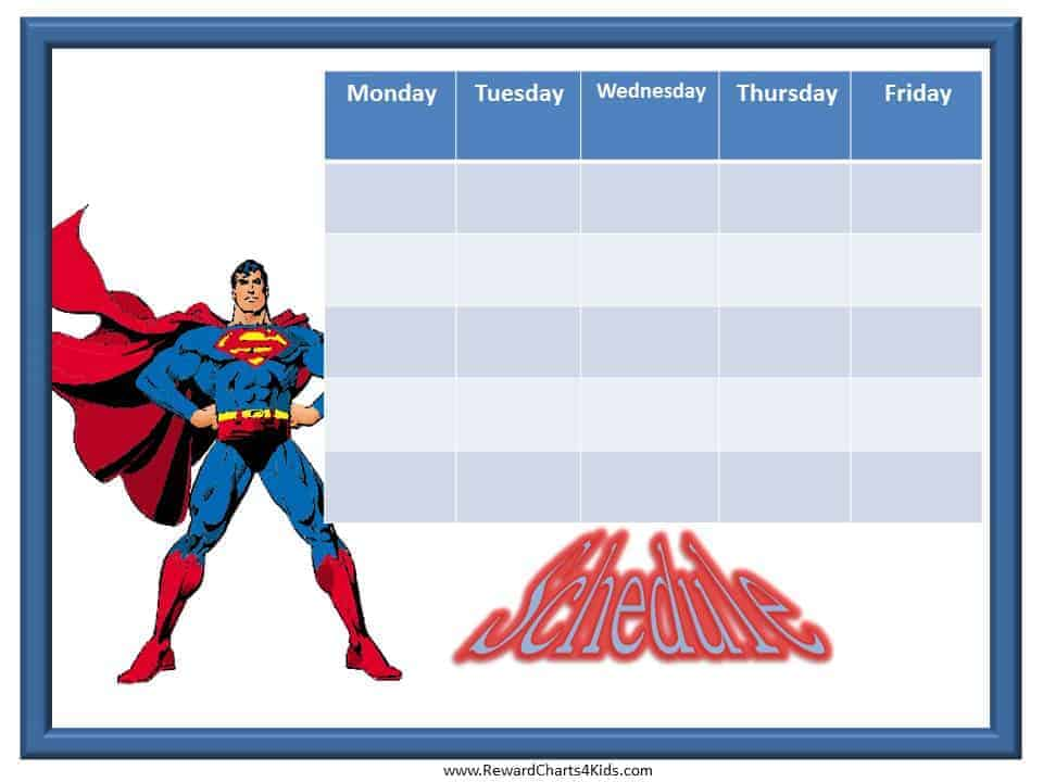Weekly Schedule Template – Kids Behavior Chart Template