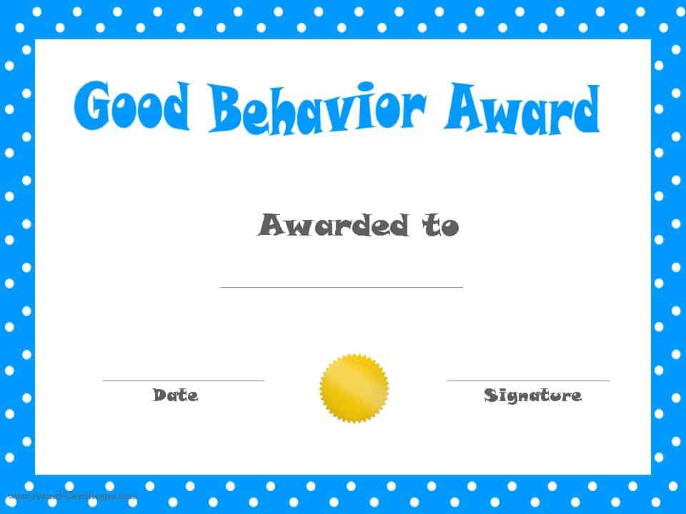 good behavior printable certificates