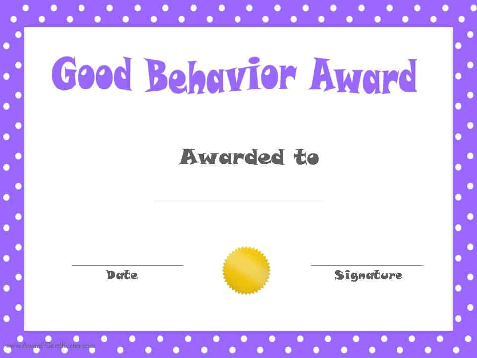 Good Behavior Printable Certificates – Certificate Template for Kids