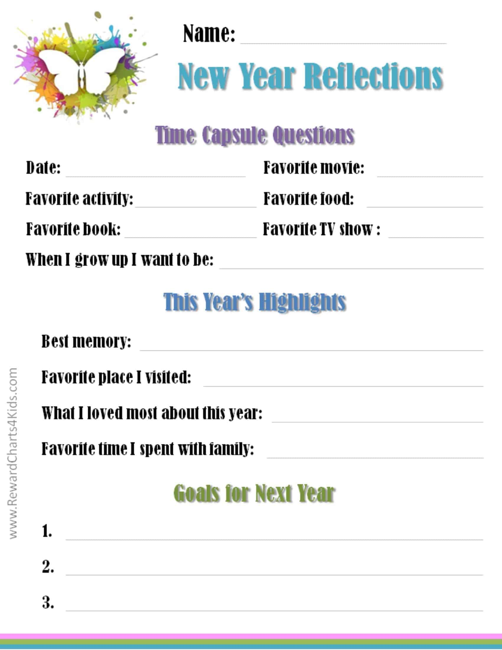 Resolutions Template For Kids | New Calendar Template Site