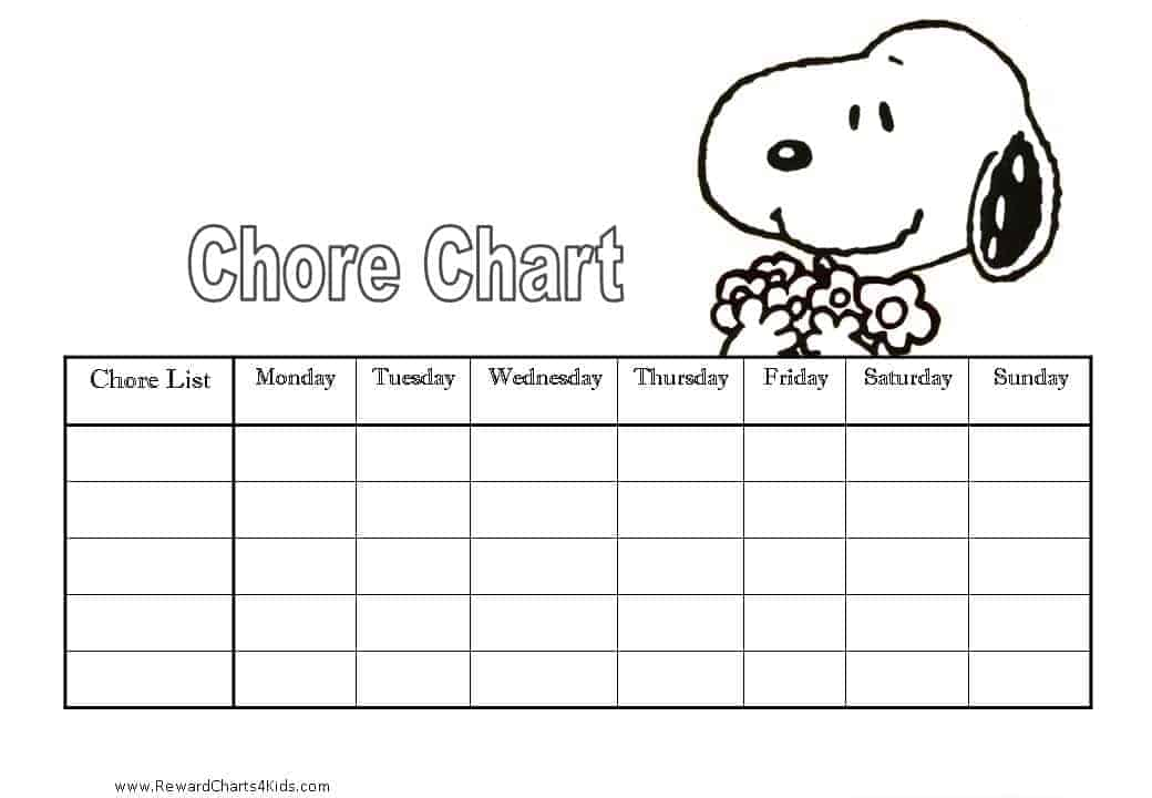 Chore Charts for Kids – Chore List Template