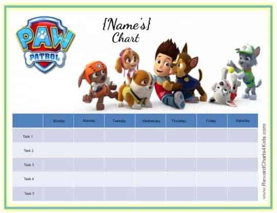 Free custom Paw Patrol charts can all be customized so they can be ...