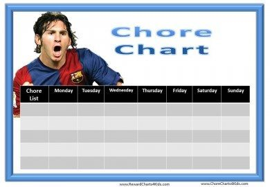 printable chore chart template for boys with Leo Messi