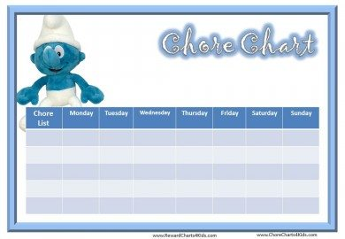 Chore Chart with Smurfs