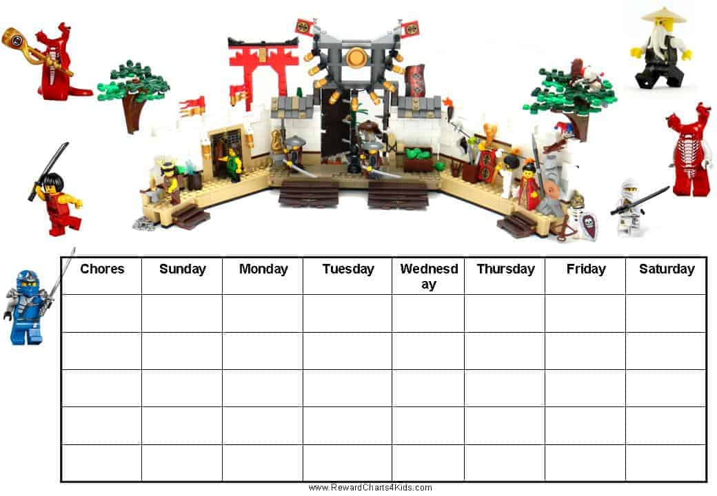 Free Printable Chore Charts with Ninjago – Free Reward Chart Templates