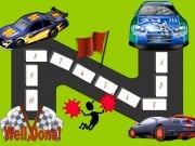"Behavior Chart with 10 steps and 3 racing cars racing to the finishing line where it says ""well done"""