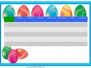 Easter weekly behavior chart with colored eggs
