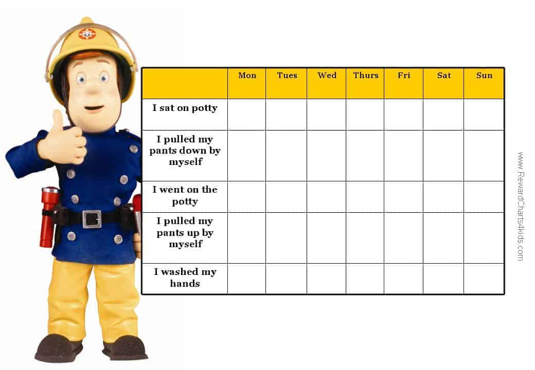 This is a toilet training chart with Fireman Sam. There are a list of ...