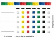 printable behavior chart with pieces of lego around the chart
