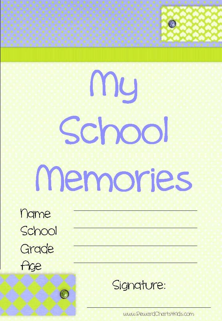 Book Cover Printable Questions : Memory book