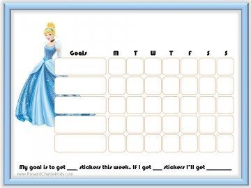 Weekly behavior chart with a picture of Cinderella
