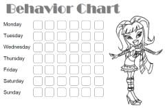 Good behavior chart with a picture of Bratz that can be colored