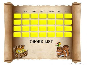 printable chore chart with chore list