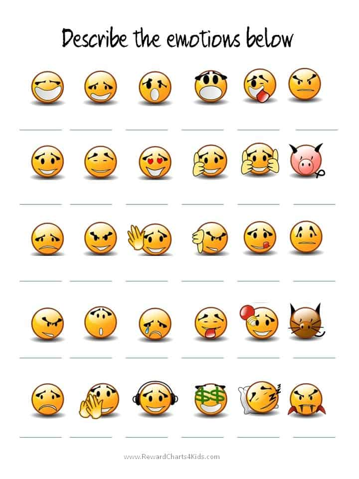 faces are expressing different emotions. Add a suitable emotion ...