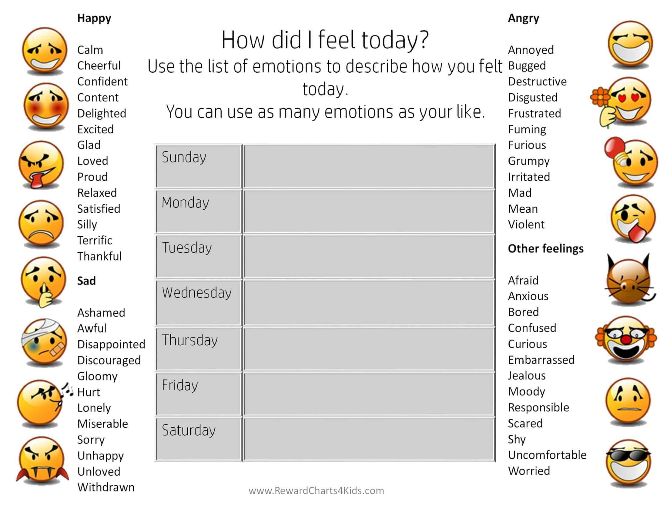 emotions chart for adults