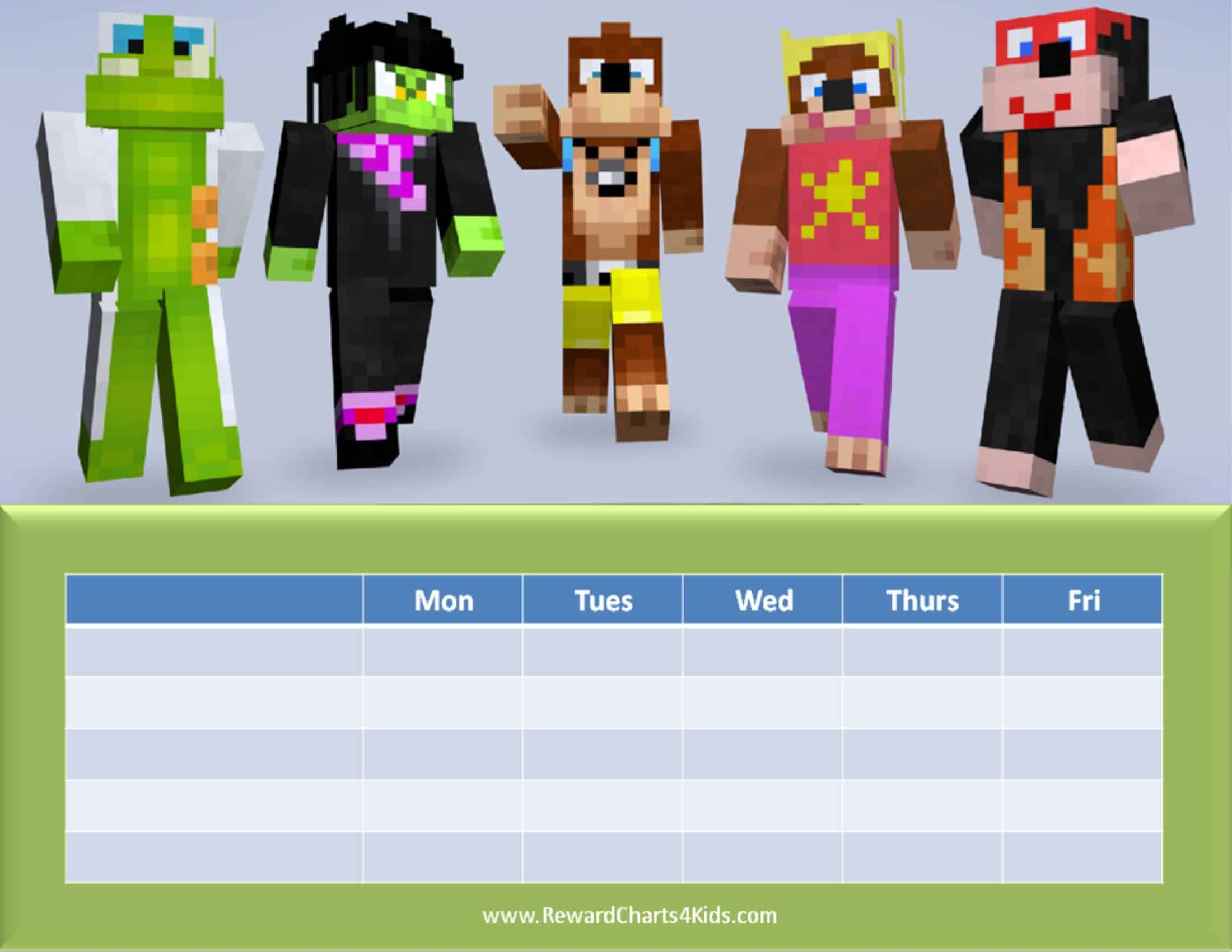 Minecraft Behavior Charts – Behaviour Chart Template