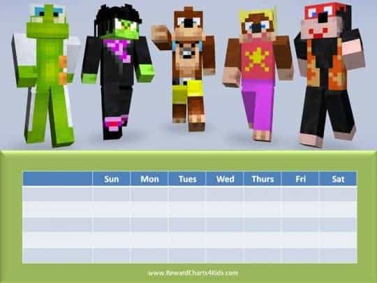 minecraft sticker chart