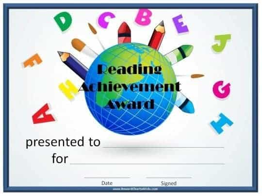 Reading achivement award certificate