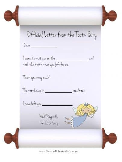 Letter from Tooth Fairy