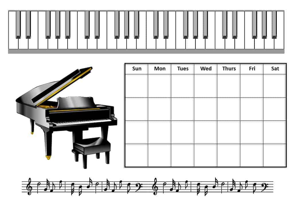 It is a graphic of Hilaire Printable Music Practice Log