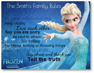 Frozen disney family rules poster