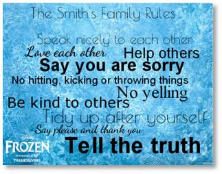 House rules for kids with a Frozen disney theme