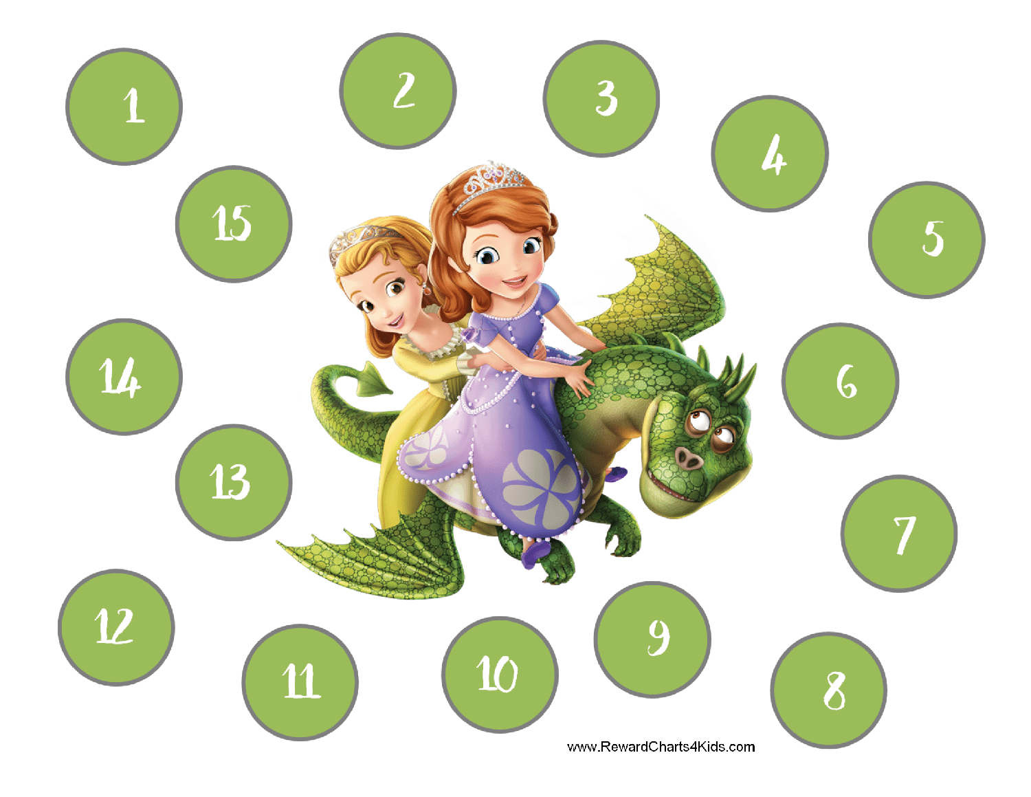 sofia the first charts 15 step chart