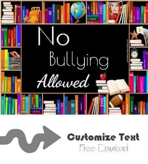 "poster that reads ""no bullying allowed"" but the text can be customzied"