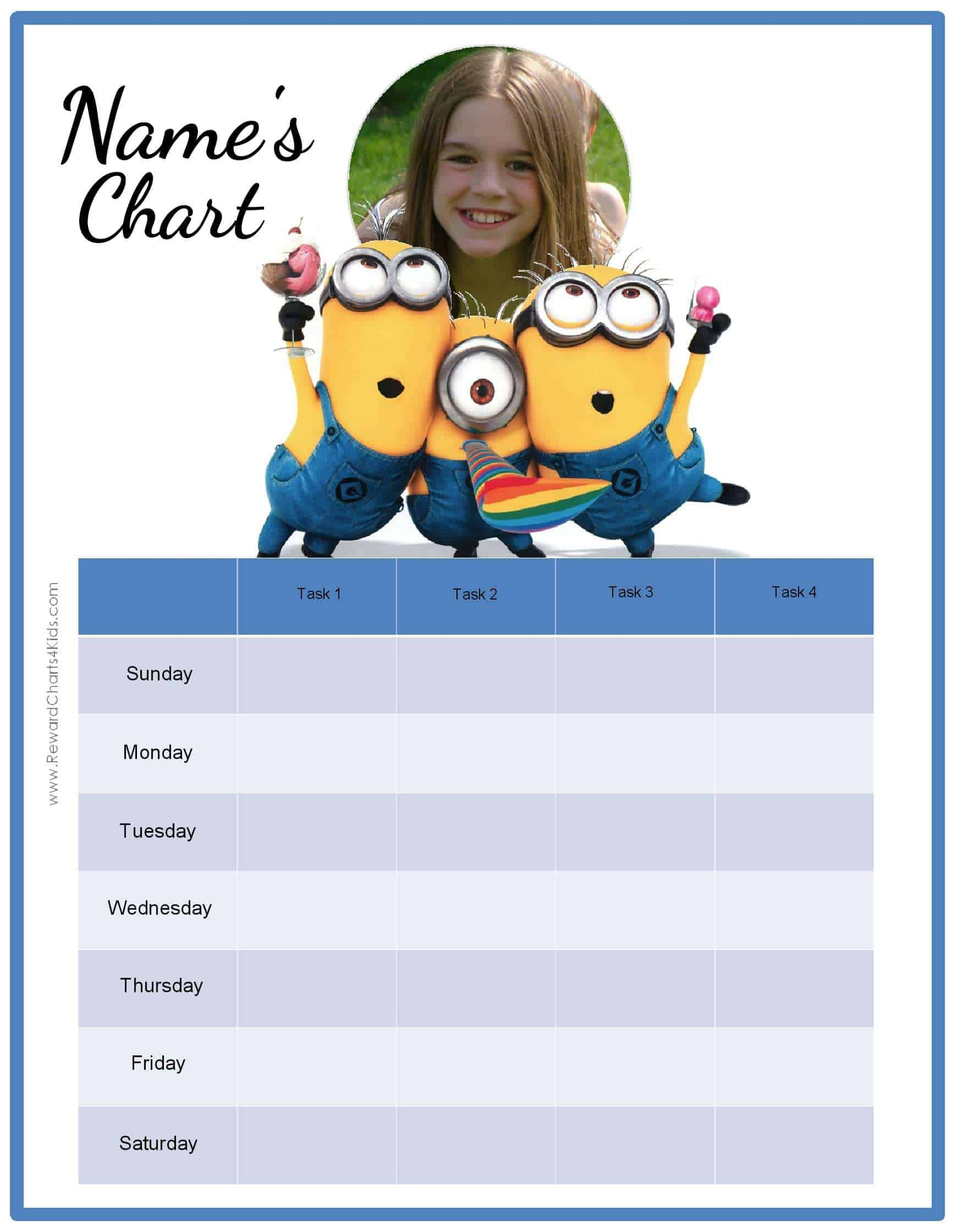 behavior charts the minions chore chart customize reward chart customize potty training chart customize