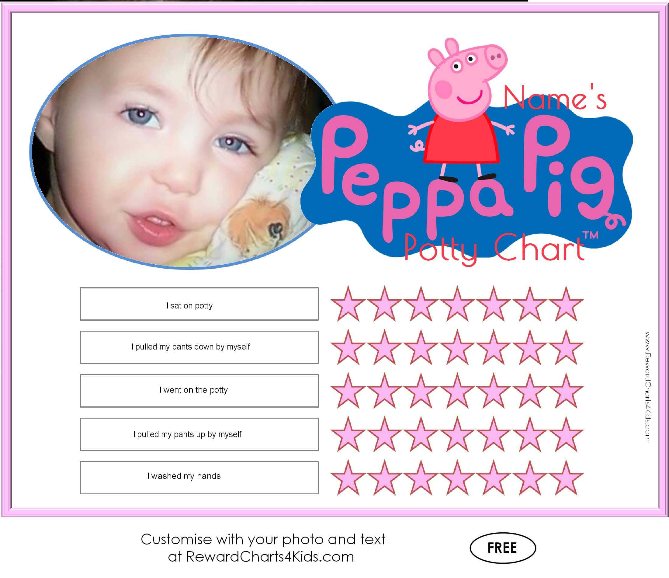 peppa pig potty training charts potty training