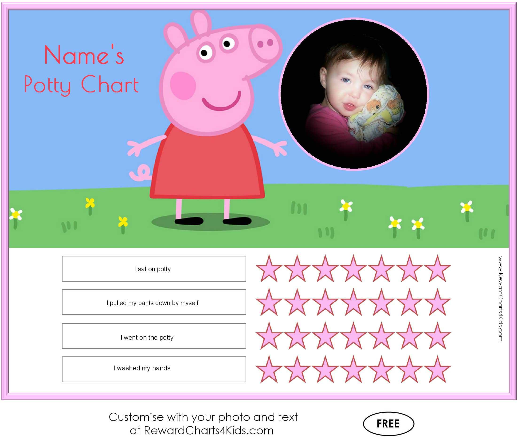 peppa pig potty training charts sticker chart