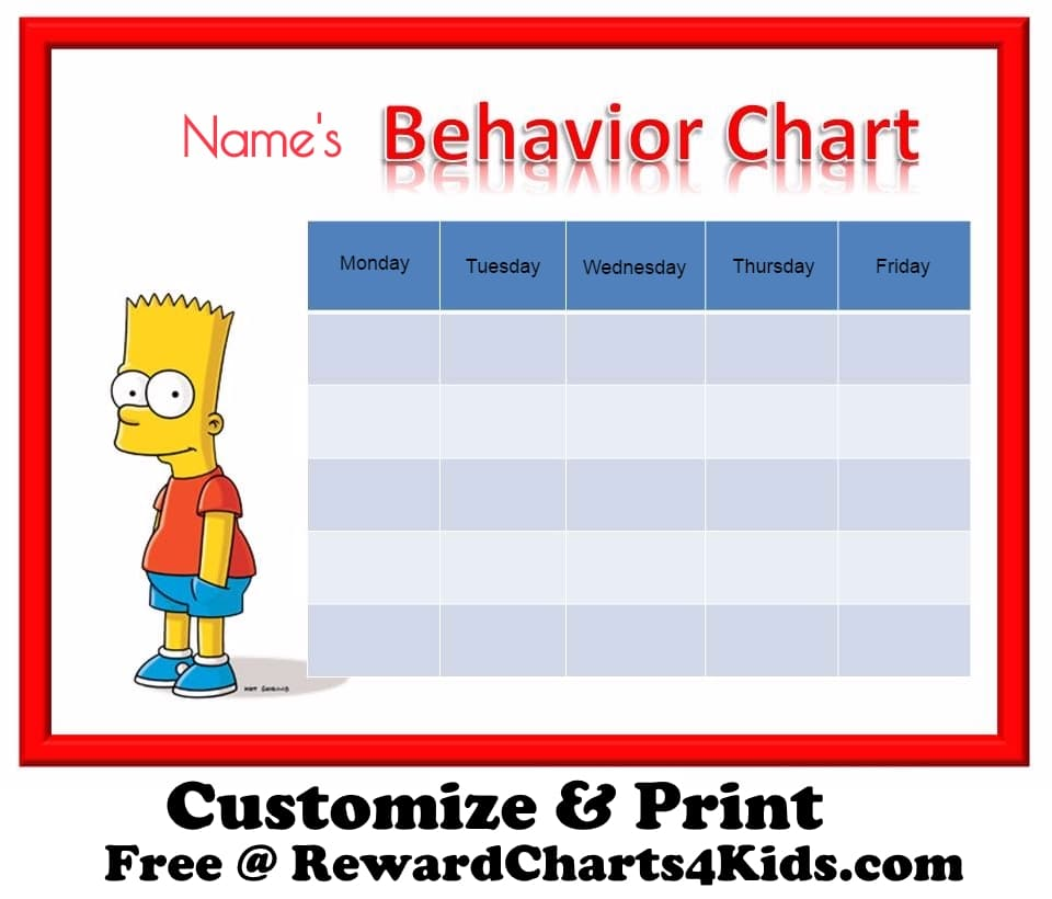 Free Behavior Charts – Kids Behavior Chart Template