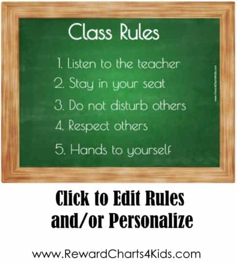 classroom rules poster on a green chalkboard