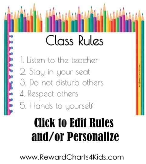 Poster with rules of classroom with colored pencils in the background