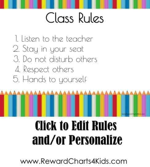 Poster with rules of class with white background and colored pencils on top and bottom